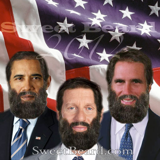 Barack Obama, Mitt Romney, and Gary Johnson with sweet beards